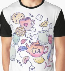 Tea and Cookies Doodle Art Graphic T-Shirt