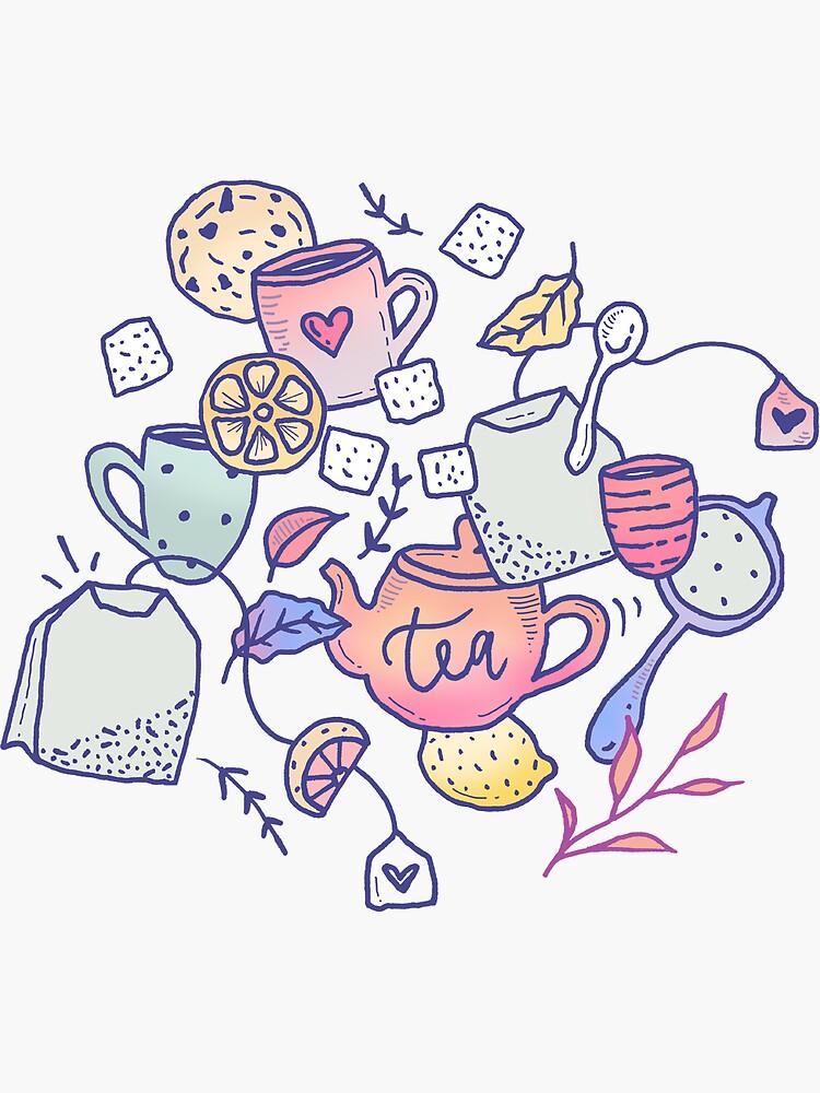 Tea and Cookies Doodle Art by mirunasfia