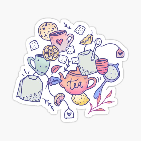 Tea and Cookies Doodle Art Sticker