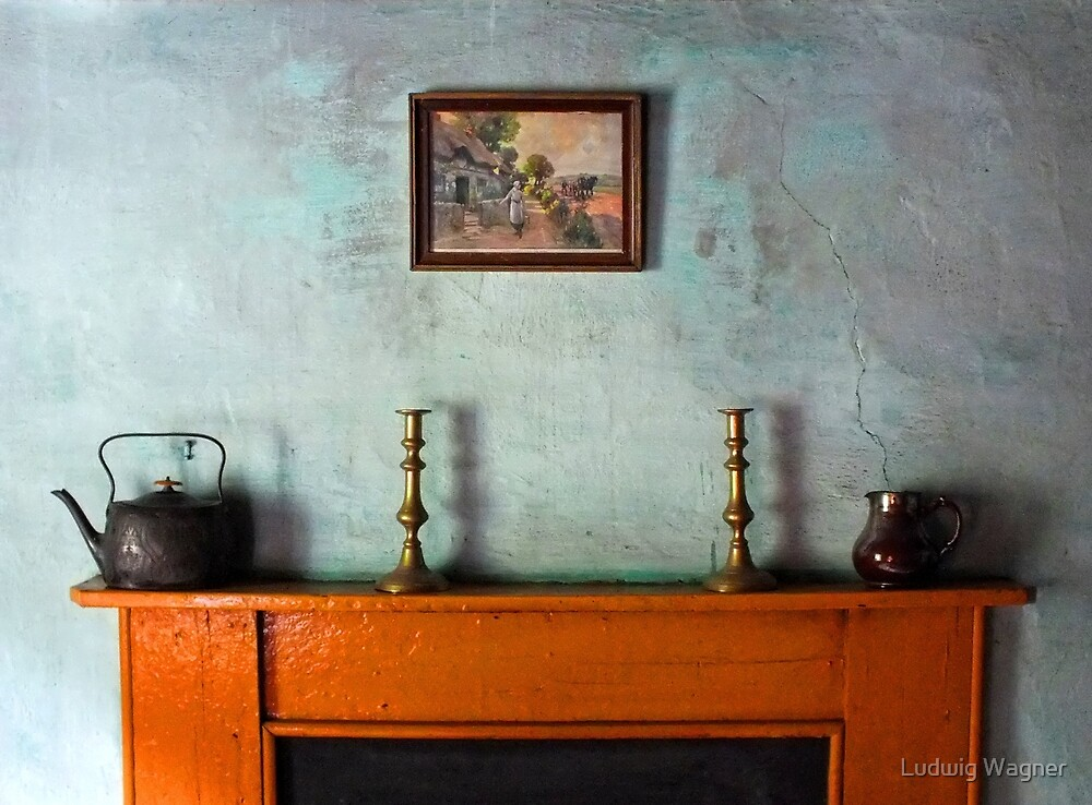 Antique Mantelpiece Still Life by Ludwig Wagner