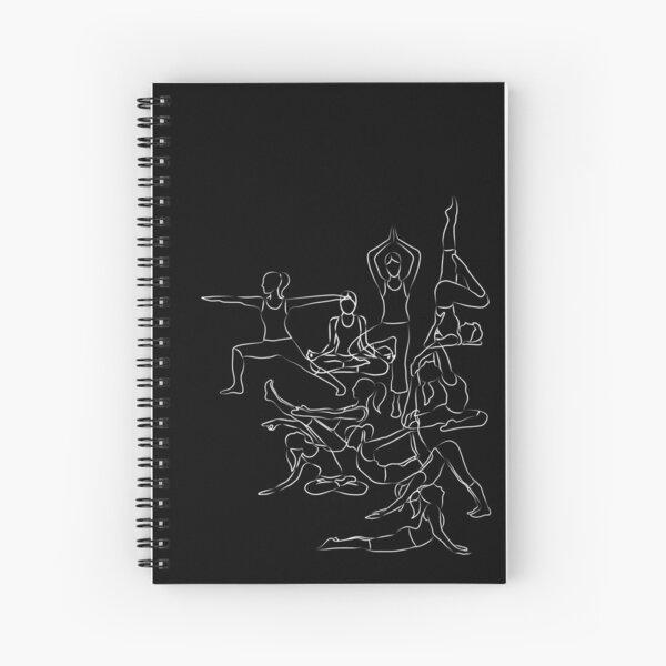 Yoga Asanas Pattern - white chalk Spiral Notebook