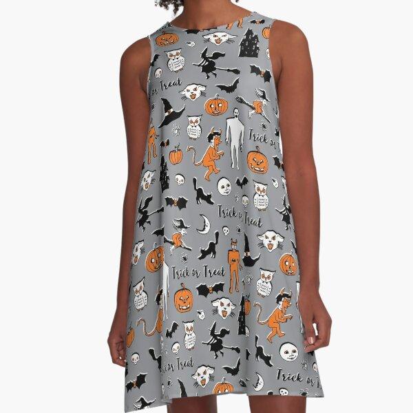 Retro Trick or Treat - Grey - Halloween pattern by Cecca Designs A-Line Dress
