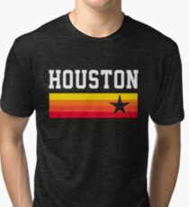 Houston Baseball Throwback Astro Vintage Stripes Tri-blend T-Shirt
