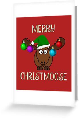 merry christmoose funny moose christmas by estellestar
