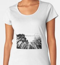 Winter forest, black dark trees, winter poster Women's Premium T-Shirt