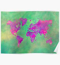 world map 117 green purple #map #worldmap Poster