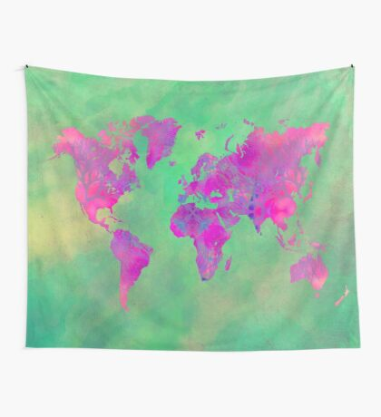 world map 117 green purple #map #worldmap Wall Tapestry