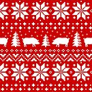 Pig Silhouettes Christmas Sweater Pattern by Jenn Inashvili