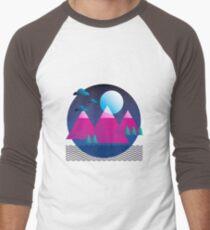 Abstract mountain landscape at night Men's Baseball ¾ T-Shirt