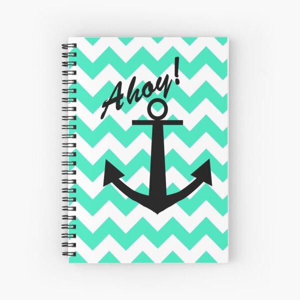 Ahoy! Anchor with Chevron Teal Spiral Notebook