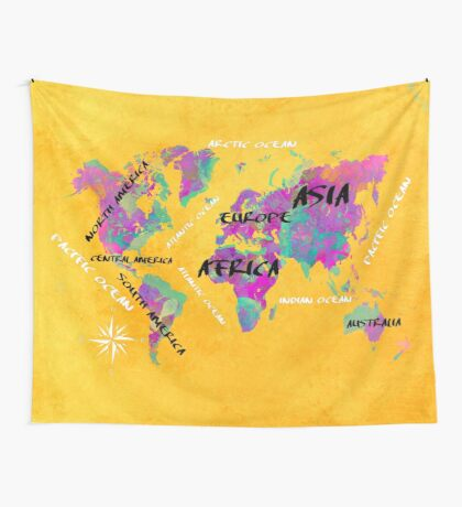 world map 119 yellow #map #worldmap Wall Tapestry
