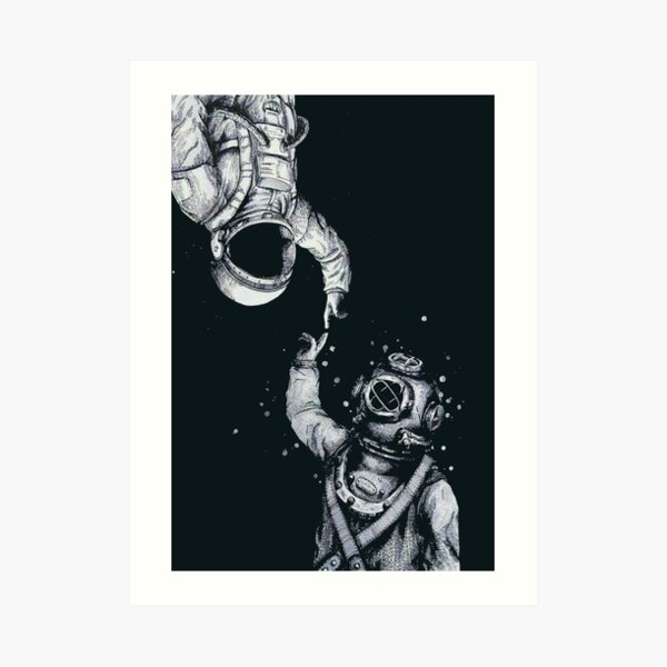 Astronaut and Diver - Last Frontiers  Art Print