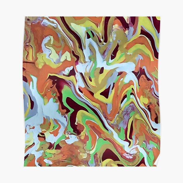 Abstract Music orange Conga Rhythm pattern Poster