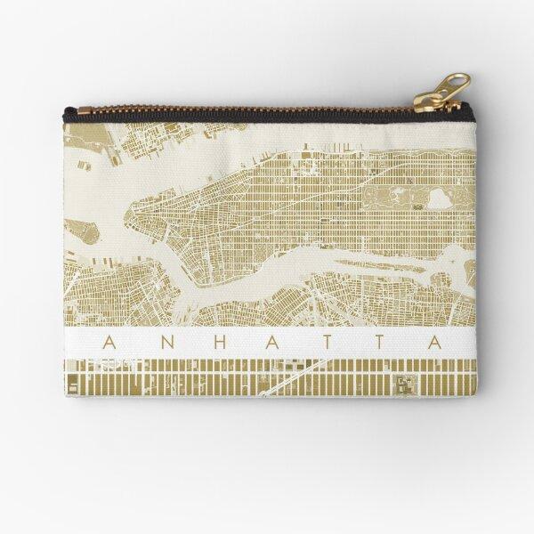 Manhattan map gold Zipper Pouch