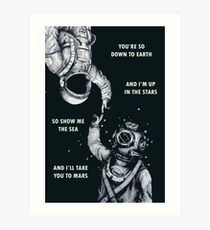 Astronaut and Diver - I'm Up in The Stars Poster Art Print