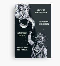 Astronaut and Diver - I'm Up in The Stars Poster Metal Print