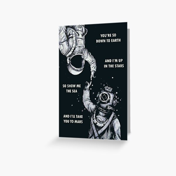 Astronaut and Diver - I'm Up in The Stars Greeting Card