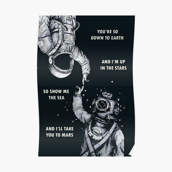 Astronaut and Diver - I'm Up in The Stars Poster