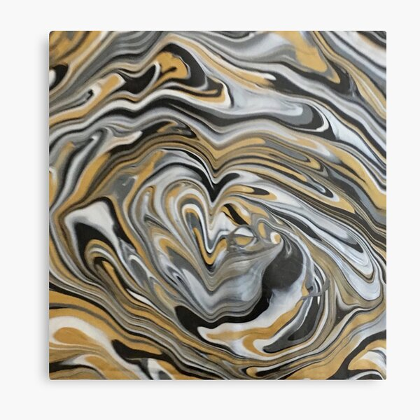 Abstract Music gold Melting Metals marbled Metal Print