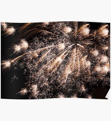 Burst Of Gold Fireworks Poster