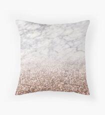 Cojín Brillo ombre de oro rosa brillante - mármol blanco