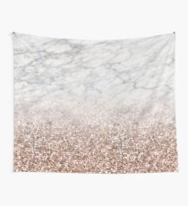 Bold ombre rose gold glitter - white marble Wall Tapestry