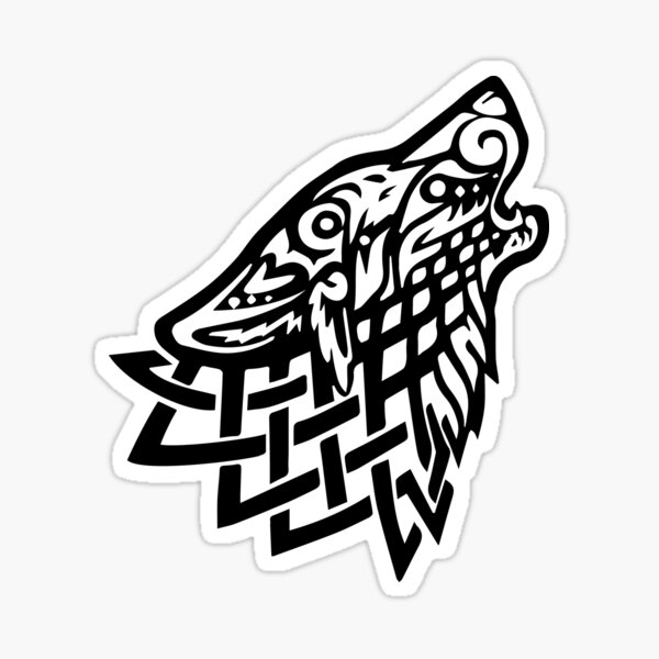 Celtic Wolf - Black Sticker