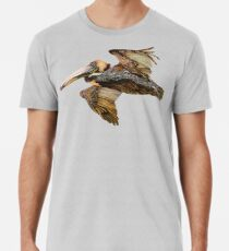 Brauner Pelikanflug mit Vintage Seafoam Stripe (California Bird) Premium T-Shirt