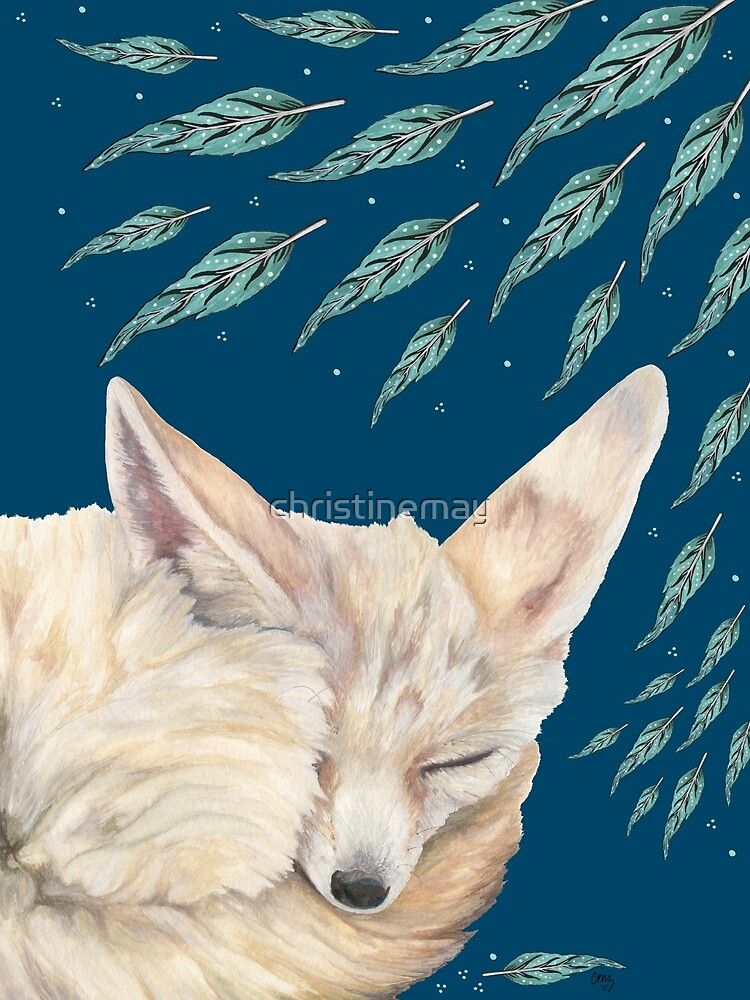 Fennec Fox Feather Dreams in Turquoise by christinemay