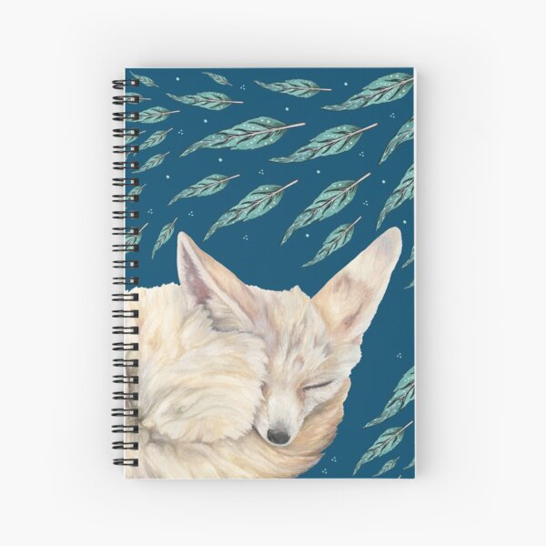 Fennec Fox Feather Dreams in Turquoise Spiral Notebook