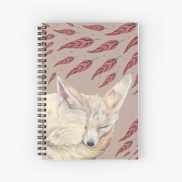 Fennec Fox Feather Dreams in Taupe Spiral Notebook