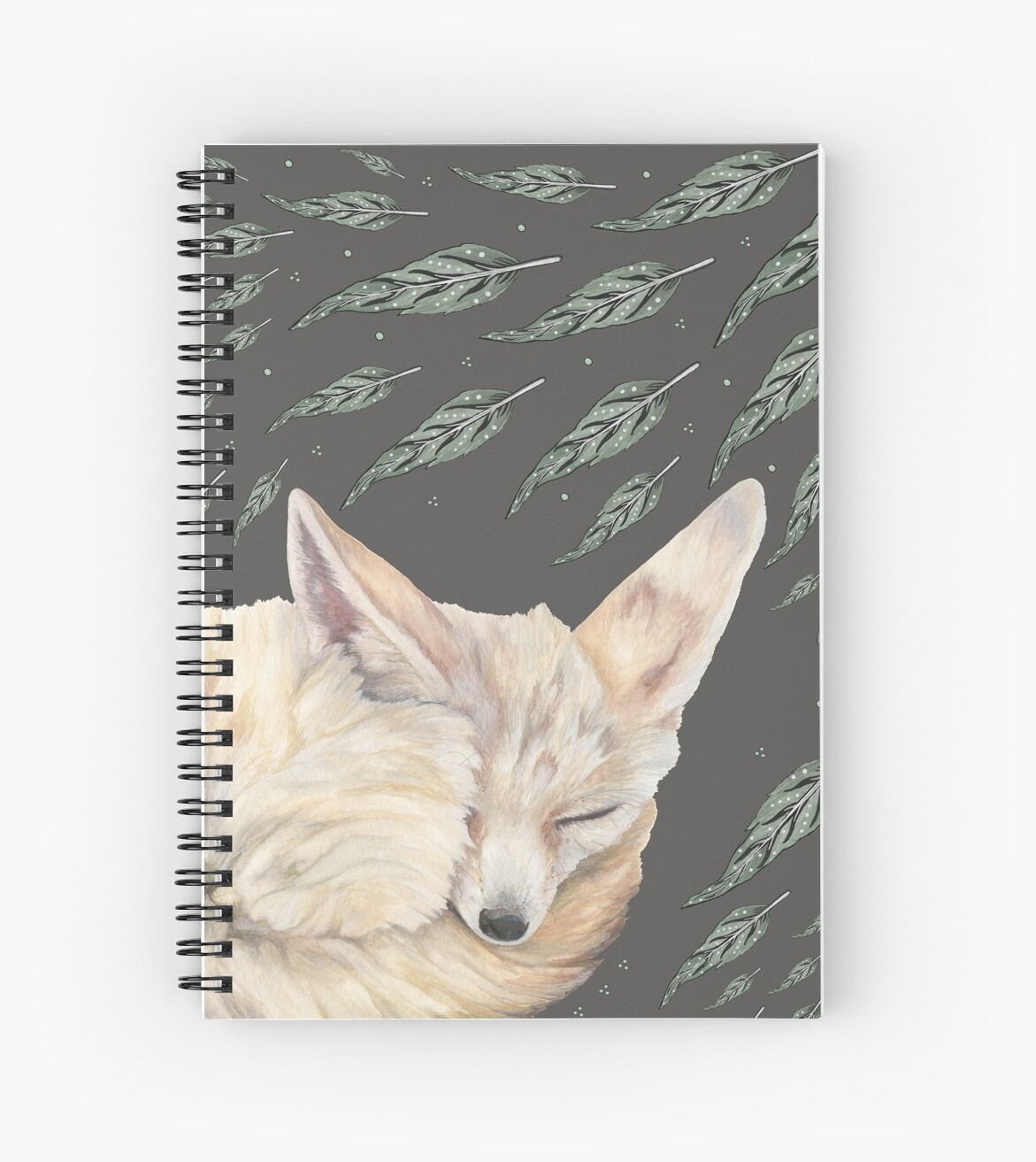 Fennec Fox Feather Dreams in Olive & Black by christinemay