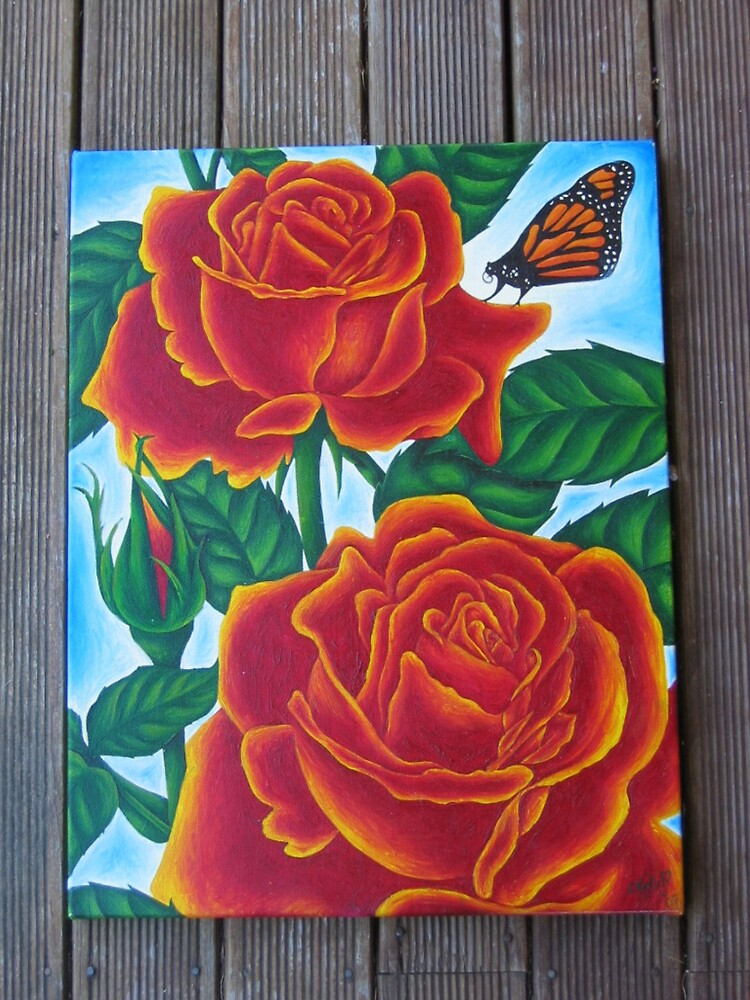 2 Roses and a Butterfly by mistresskelly