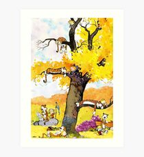Calvin and Hobbes Mural Art Print