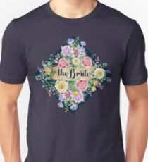 The Bride Modern Typography Colorful Flowers Bouquet T-Shirt