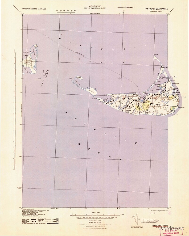 Massachusetts  USGS Historical Topo Map MA Nantucket 351134 1942 125000 by wetdryvac