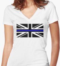 thin blue line UK Flag Women's Fitted V-Neck T-Shirt