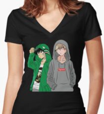Hypebeast Academia Women's Fitted V-Neck T-Shirt