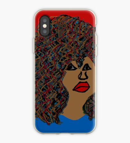 Natürliches Haar lockiges Afro-wellenförmige Locken-rote Lippen-Königin iPhone-Hülle & Cover
