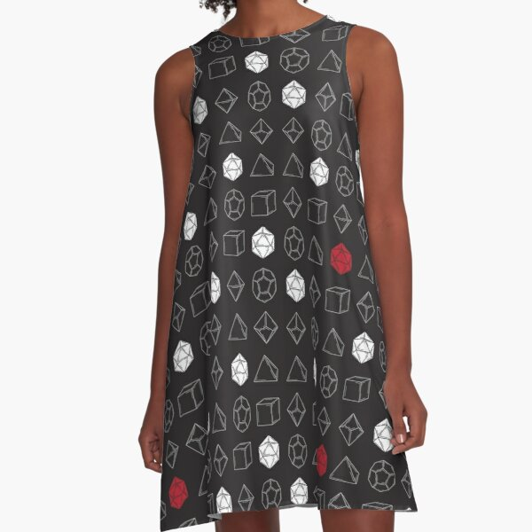 Dungeons and Dragons Dice Set D20 Pattern A-Line Dress
