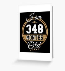 Funny Vintage 29th Birthday I'm 348 Months Old Gift Greeting Card