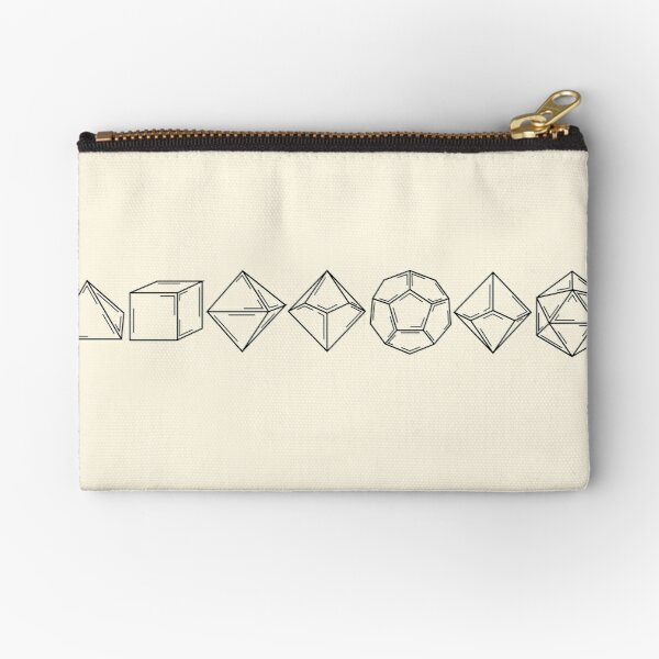 Minimal Dungeons and Dragons Dice Set D20 Zipper Pouch