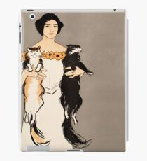 Lady carrying two cats 021 iPad Case/Skin