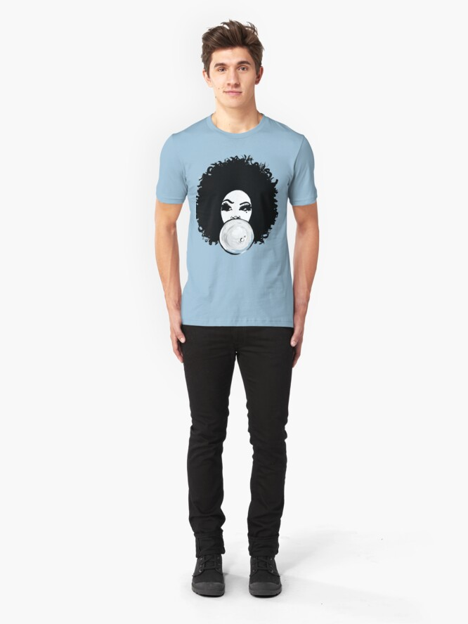 Alternate view of Curly Afro Pretty Girl Black Hair Bubble Gum Poppin T-Shirt Tees Slim Fit T-Shirt