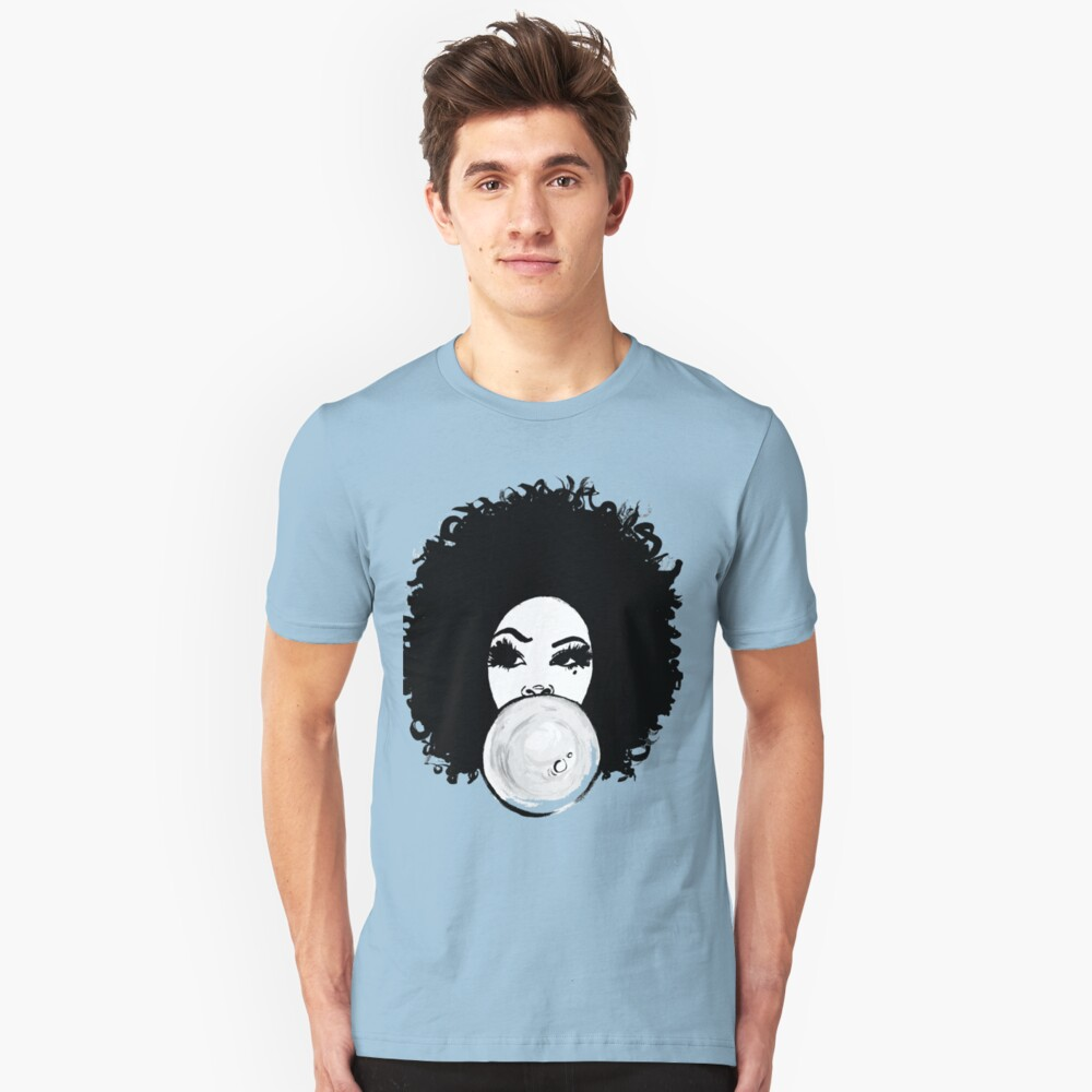 Curly Afro Pretty Girl Black Hair Bubble Gum Poppin T-Shirt Tees Slim Fit T-Shirt