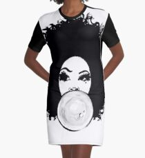 Curly Afro Black Hair Bubble Gum Poppin T-Shirt Tees Graphic T-Shirt Dress