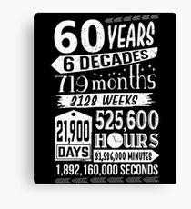 Funny 60th Birthday 60 Year Old Sign Gag Gift Canvas Print