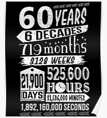 Funny 60th Birthday 60 Year Old Sign Gag Gift Poster
