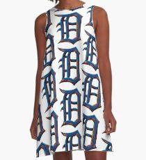 Detroit Old English D - Verrostet und wahr A-Linien Kleid