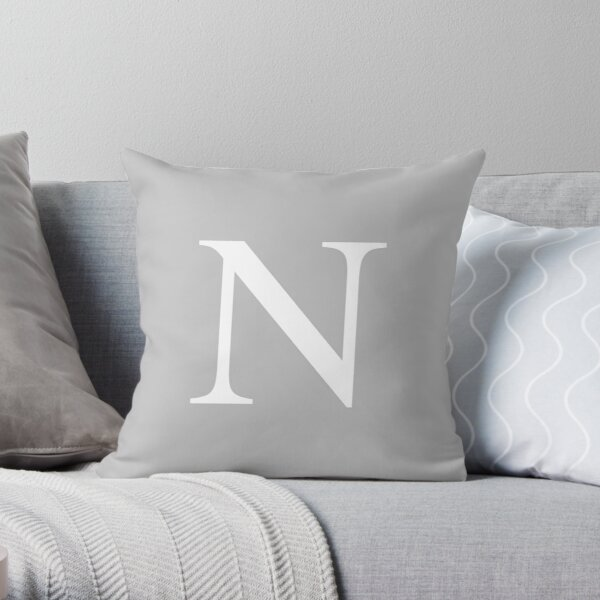 Silver Gray Basic Monogram N Throw Pillow